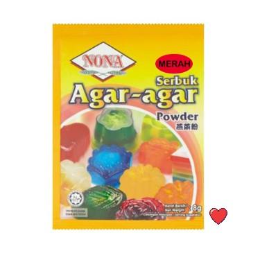 Nona Serbuk Agar-Agar / AGAR-AGAR Powder ~ Red Colour 8g ( Free Fragile + Bubblewrap Packing )