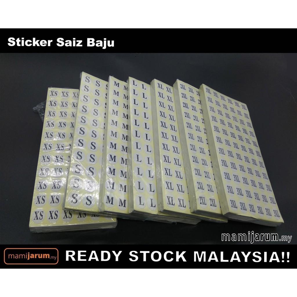 Sticker Saiz READY STOCK MALAYSIA