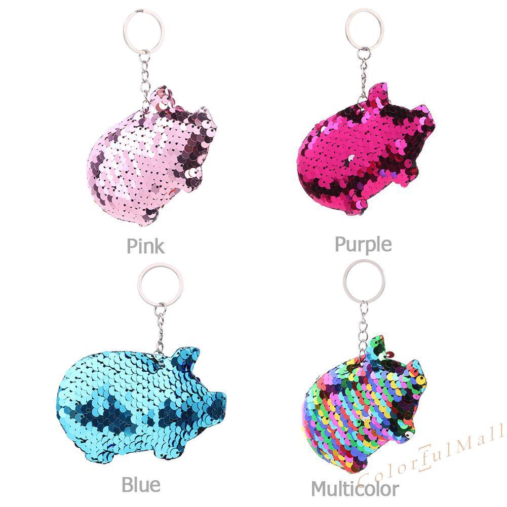 Sequins Keychain Car Bag Accessories Handbag Pendant Holder Pig Key Ring