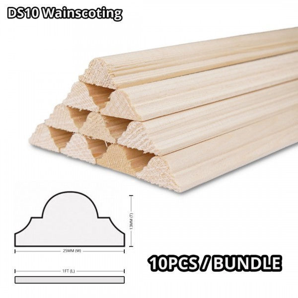 Pine Wood Timber DS10 Moulding Decorative Wainscoting 13MM (T) x 25MM (W) x 1' (L) - 10PCS/BDL