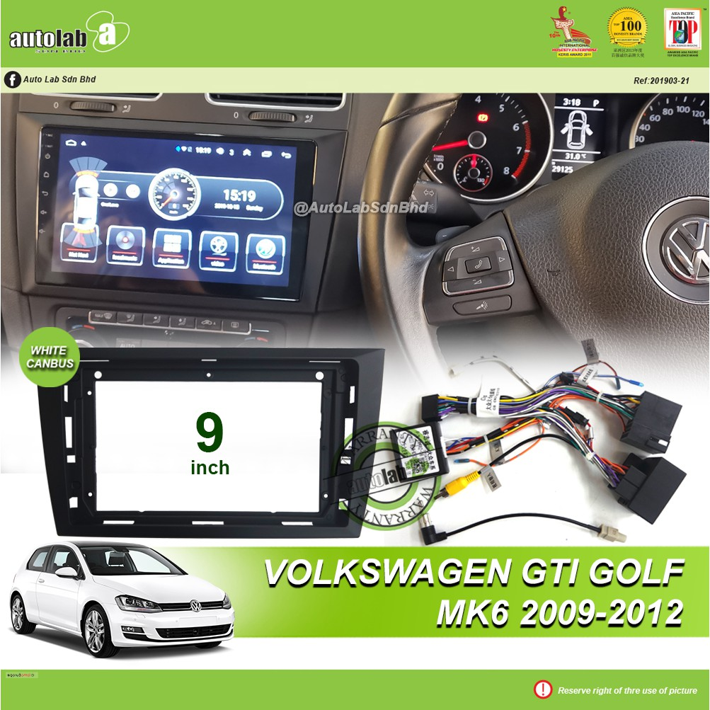 """Android Player Casing 9"""" Volkswagen GTI Golf MK6 2009-2012 (with Socket VW & VW Canbus Module + Antenna Join)"""