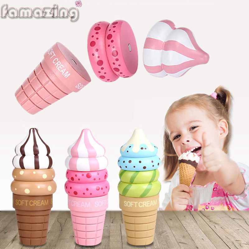 Wooden Food Magnetic Pretend Play Connected Ice Cream Children Kid Gift Toy Game