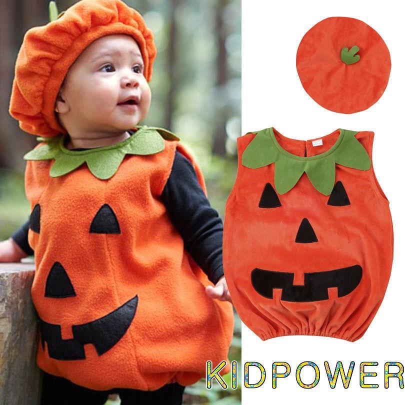 LIKEZZ Princess Kids Baby Girl Halloween Party Clothes Set Toddler Girls Pumpkin Fancy Dress Costume Blouse Top Striped Pants