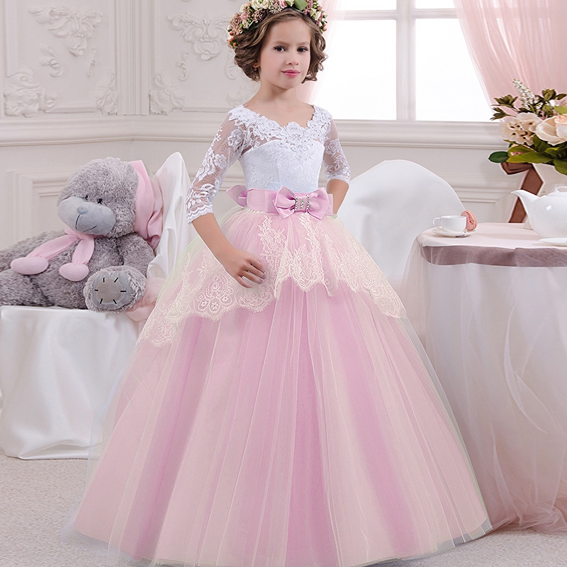 Baby Girl Princess Flower Birthday Party Wedding Flower Dress Lace Long Sleeve