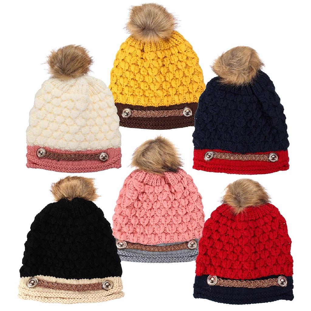 Braided Knit Crochet Wool Slouch Baggy Beanie Pom Bobble Hat Ski Cap