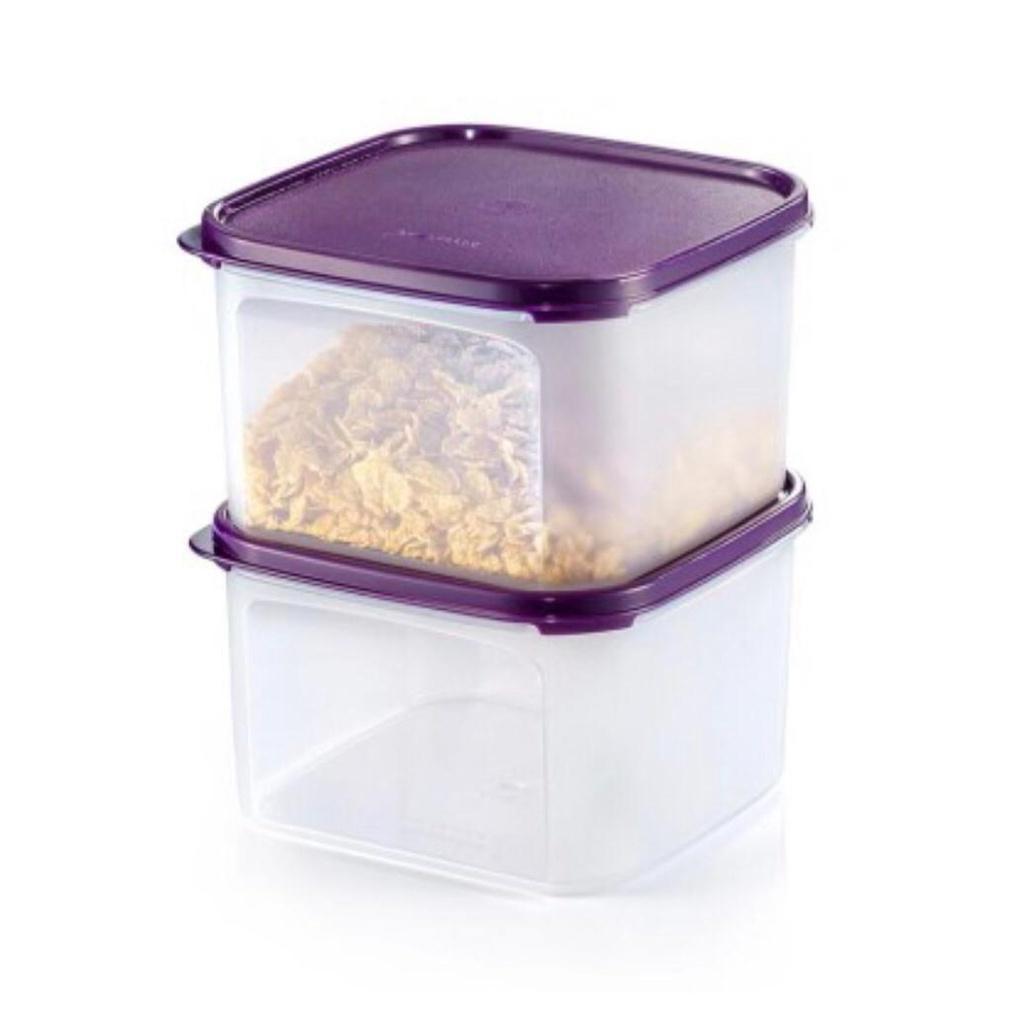 Tupperware Modular Mates Square II (2) 2.6L   Container Purple   Food Conatiner   Bekas Makanan   Bekas Ungu