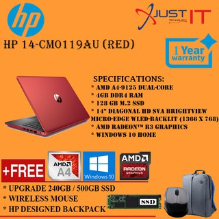 UPGRADED) HP 14-CM0119AU A4-9125 4GD4 128SSD WIN10H RED