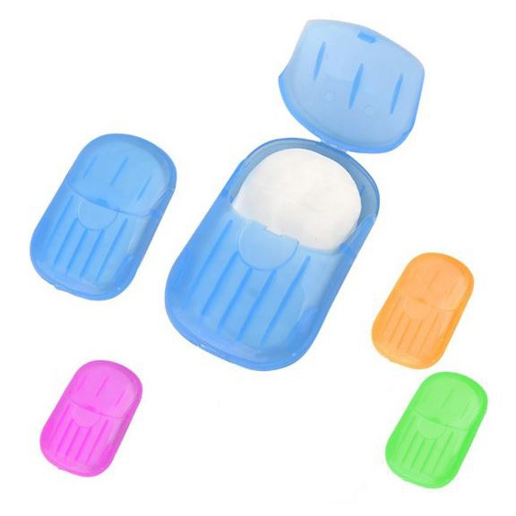 [Ready Stock] [20Pcs/Box] Portable Disposable Hand Washing Soap Piece Mini Soap Paper Travel Carry Soap Paper 随身携带肥皂纸