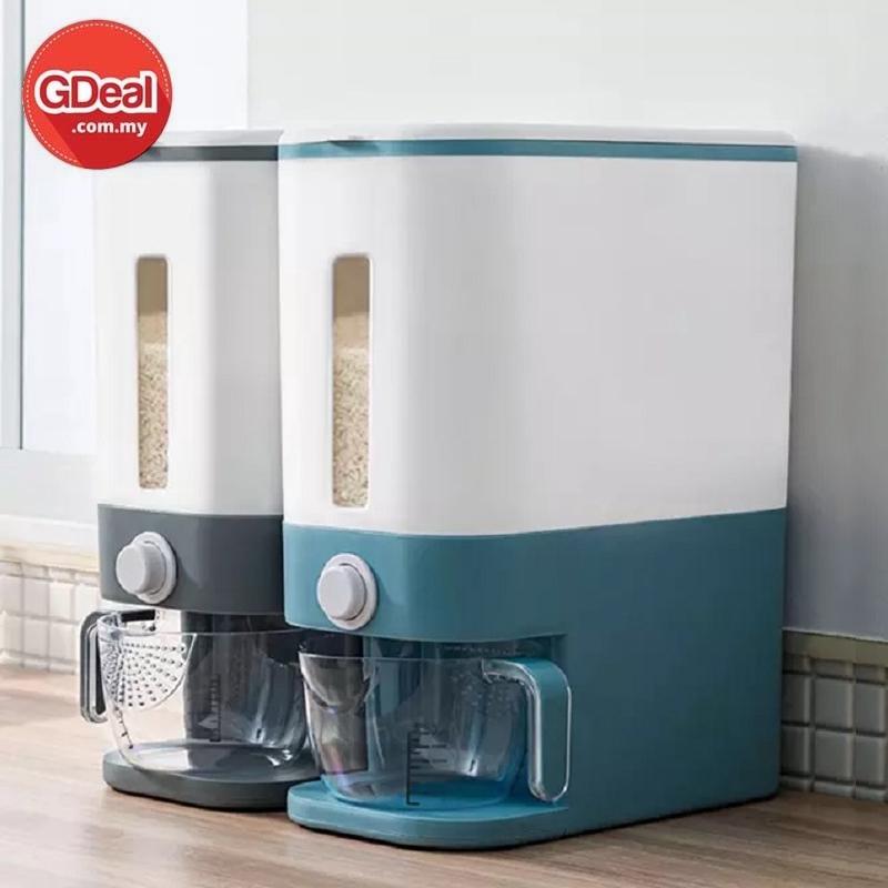GDeal 12kg Household Rice Bucket Metering Cylinder Rice Bean Dispenser With Rinsing Cup Bekas Beras