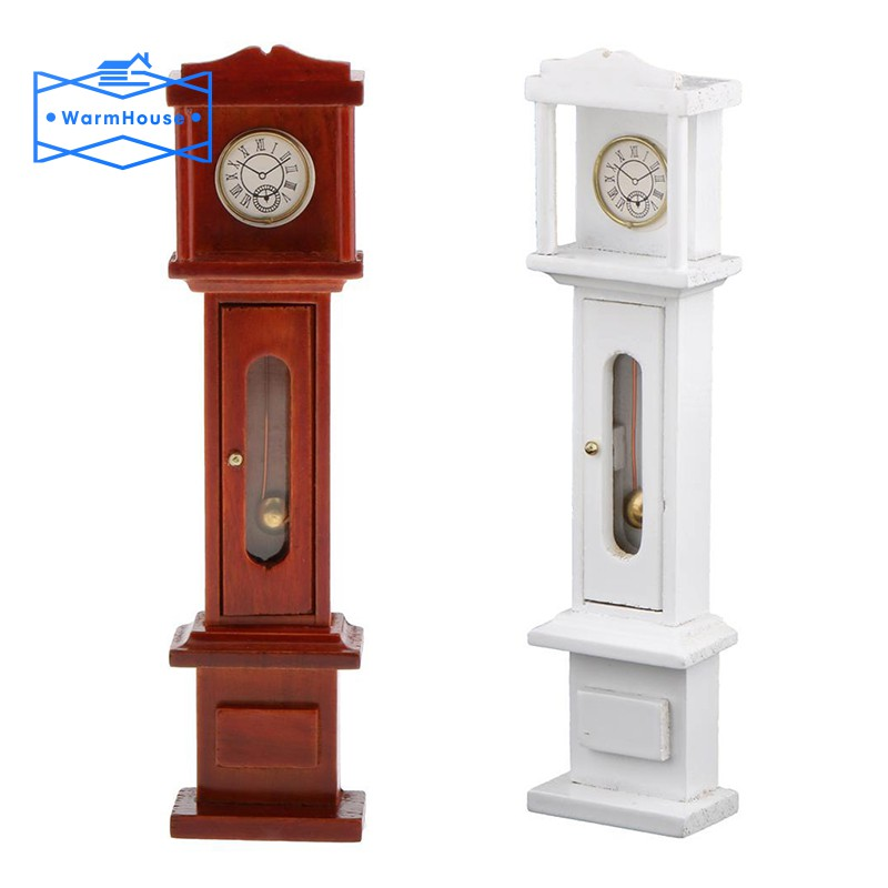 1:12 Dollhouse Miniature Living Room Vintage Wooden Grandfather Clock White