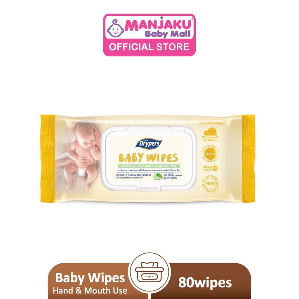 Drypers Baby Wipes - Suitable for Hand & Mouth Use (80's)