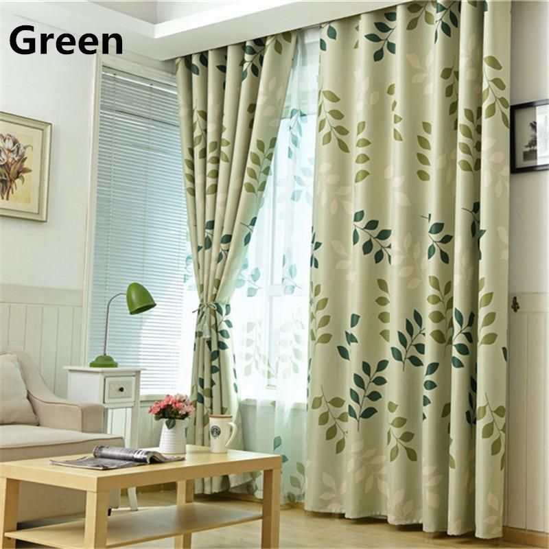 GDeal Simple Leaves Design Curtain Home Livingroom Bedroom Deco Blackout Curtains With Hooks Langsir (100cm x 250cm)