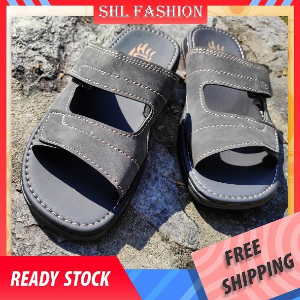 SHL Men PU Leather Sandal TWO STRAP Slip On Selipar Kasut Lelaki size 39-44【男士拖鞋】-402