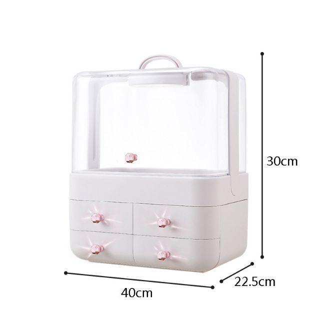 [ READY STOCK ]  Dust Proof Cosmetic Makeup Box Storage Jewelry Dressing Table Lipstick Skin Care Shelf Jualan Murah Led