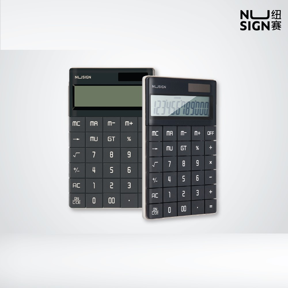 NUSIGN Black Smoke Desk 12-digits Calculator NS041