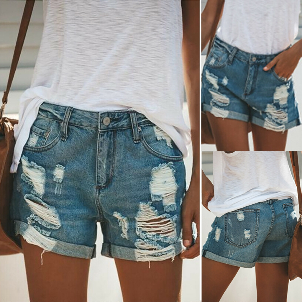 Womens Summer Ripped Denim Shorts Jeans High Waisted Destroyed Hot pants Casual