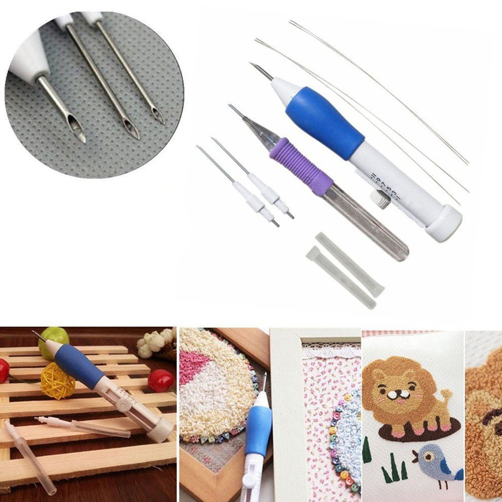 1 Set Punch Needle Embroidery Starter Kits Punch Needle Tool Threader Fabric Embroidery Hoop Yarn Rug Punch Needle for Kids Home Multicolor Flower Style