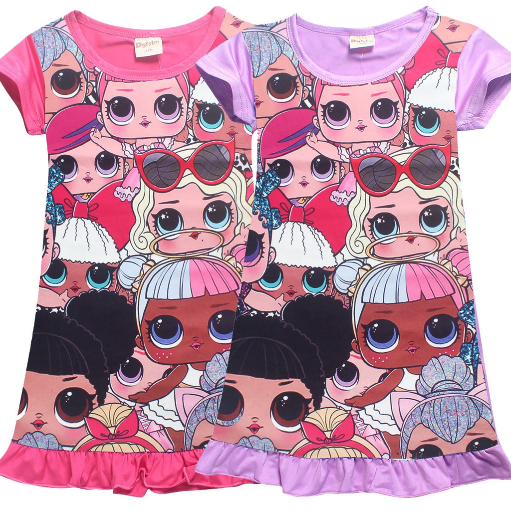 3bc9691dbc27 Kids Girls Cozy T-shirt lol Surprise Cartoon Dresses 4-12 Yrs Old ...