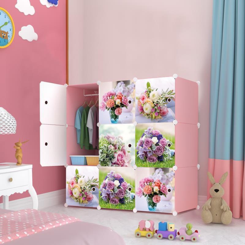 MALAYSIA: Roses 9cube Pink DIY Multipurpose Wardrobe Cabinet Clothes Storage Organizer Almari Rak Drops