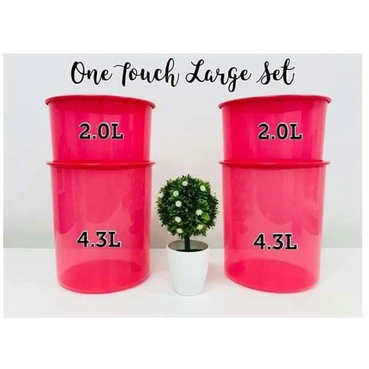 Tupperware Red OT One Touch Large Set (4 pcs) Air Tight Food Canister