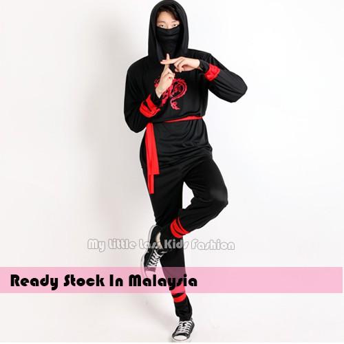 Kid/Adult Japanese Classic Ninja Costumes Halloween Costume Black Ninja Costume Cosplay 10-12y toys for boys