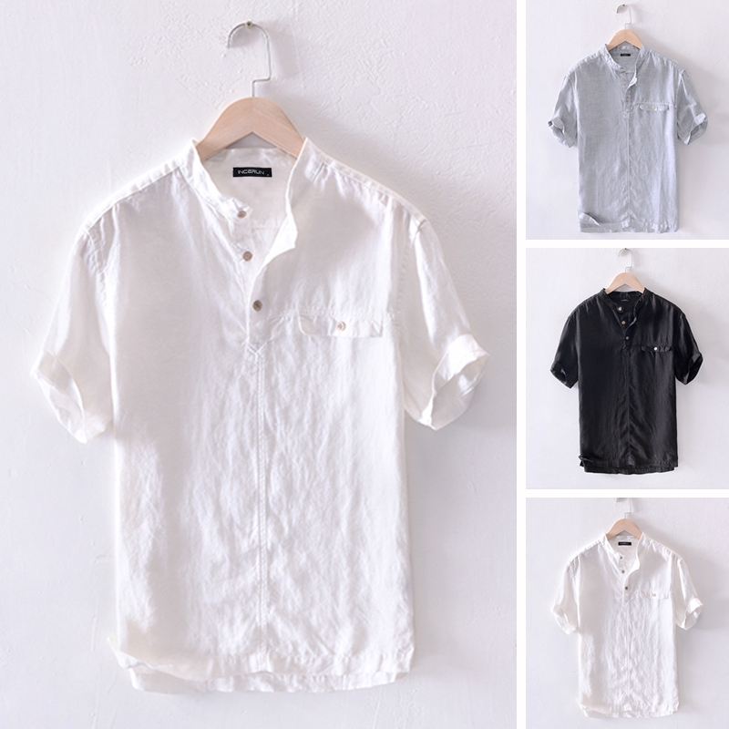 Rrive Mens Basic Linen Casual Stand Collar Button Down Short Sleeve Summer Shirt