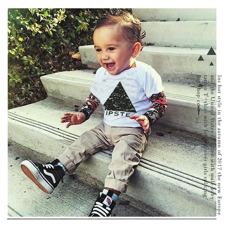 Digood Baby Boys Kids Long Sleeve Mesh Tattoo Stitching Cool Hip Hop T-Shirt Tops for 1-6 Years Old