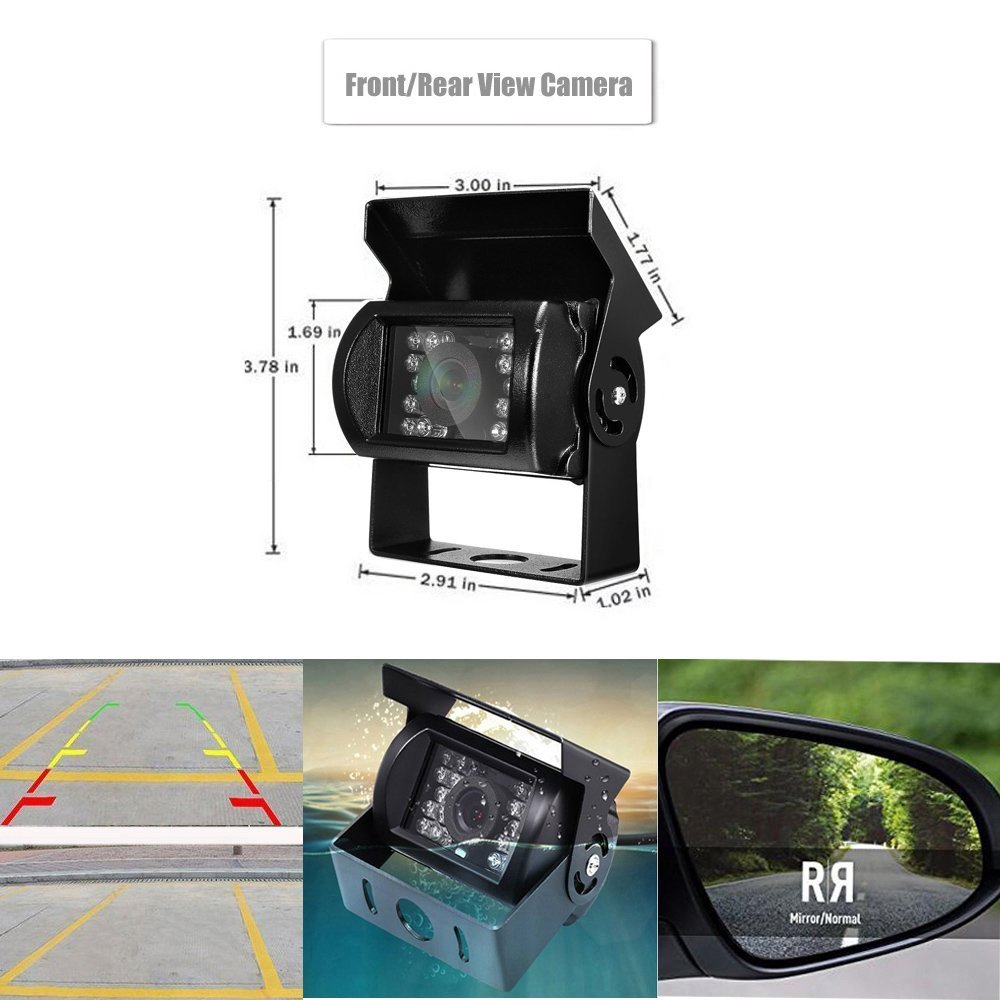 """HD 7/"""" Quad Split Monitor 4x Front Side Backup Rear View Camera For RV Truck Bus"""