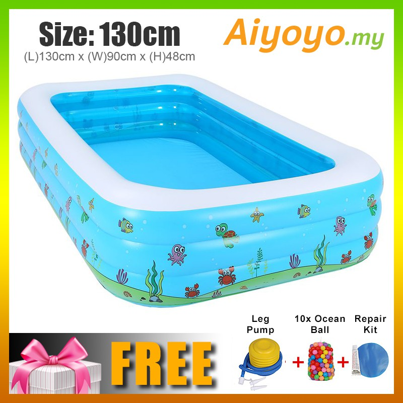(L) 130 x (W) 90 x (H) 48cm Inflatable Swimming Pool Family Kolam Mandi Kanak Kanak Kolam Renang Children Kid Baby