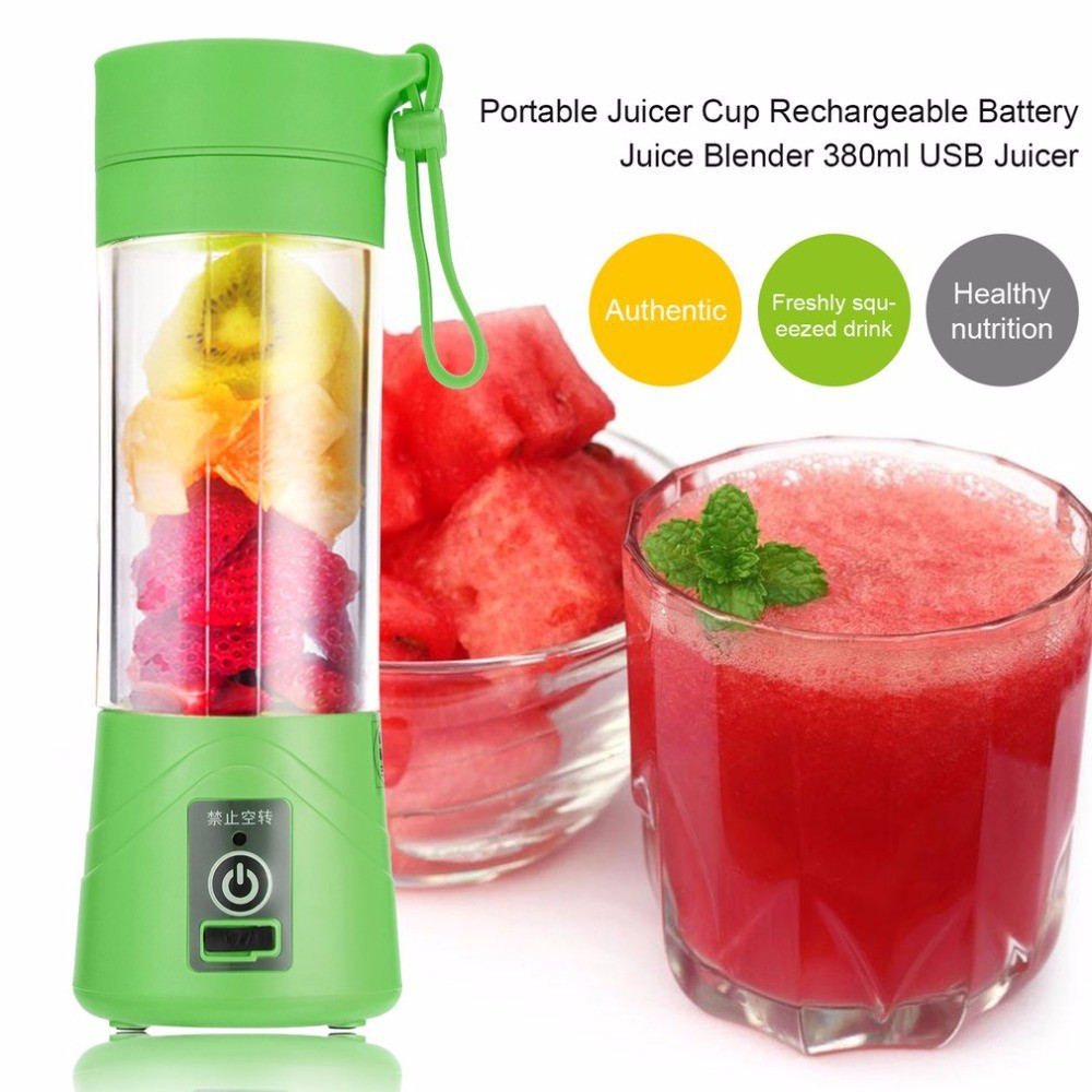 380ml 4 Blades USB Rechargeable Portable Electric Fruit Juicer Smoothie Blender | Shopee Malaysia