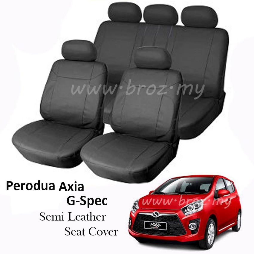 Car Seat Cover Case Semi Leather Perodua Axia G-Spec Front and Back - Black
