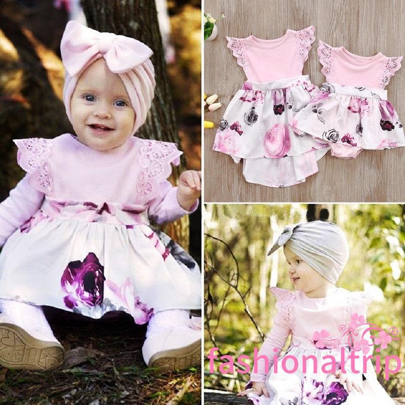 4638f094929a3 ➹-Cute Little Sister Kids Girls Lace Floral Dress Sundress Newborn ...