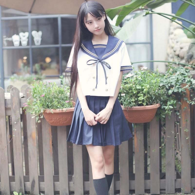 Japanese School Costume Girl Uniform Long-sleeved thick Dress Skirt set