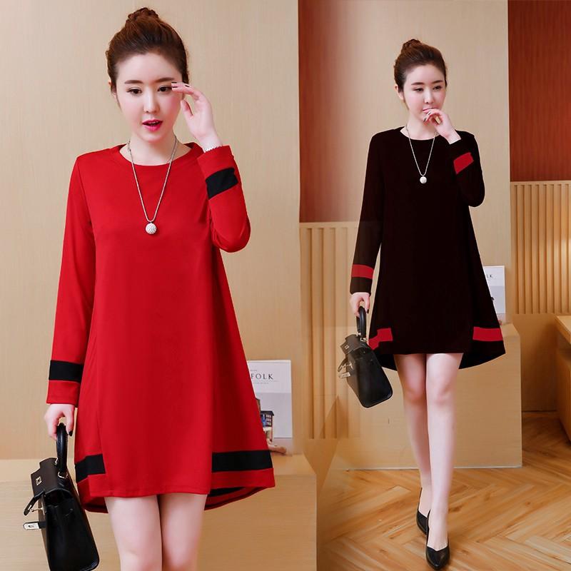 Oversize 5XL Loose Elastic Midi Dresses Women Long Sleeve Korean Party Dress