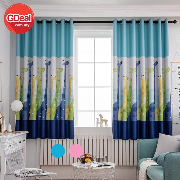 GDeal 【Thick Curtains】Punching Blackout Shading Giraffe Cartoon Design Curtain Cloth Decoration Langsir (100 x 200)لڠسير