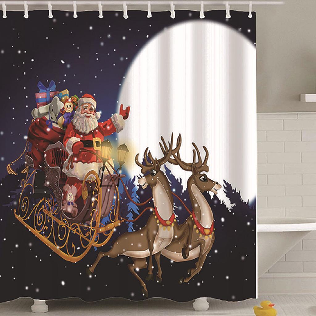 Santa Claus Reindeer Sleigh Christmas Bath Decor Shower