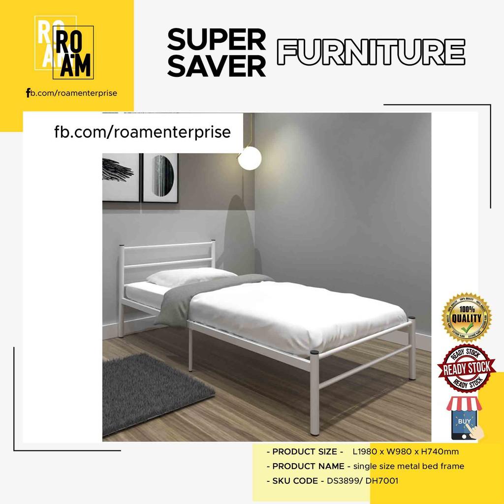 LILY single size metal bed frame katil single export quality airbnb hostel single metal  besi katil borong white black