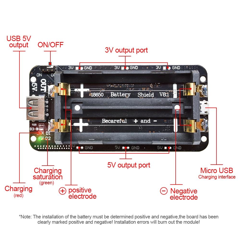 Mobile Power Bank Dual Volt 18650 Battery Shield V8 3//5V for WiFi ESP8266 ESP32
