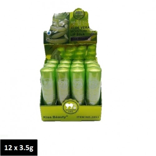 Kiss Beauty 99% Aloe Vera Soothing Gel Moisturizing Lipsitck 3.5g x 12
