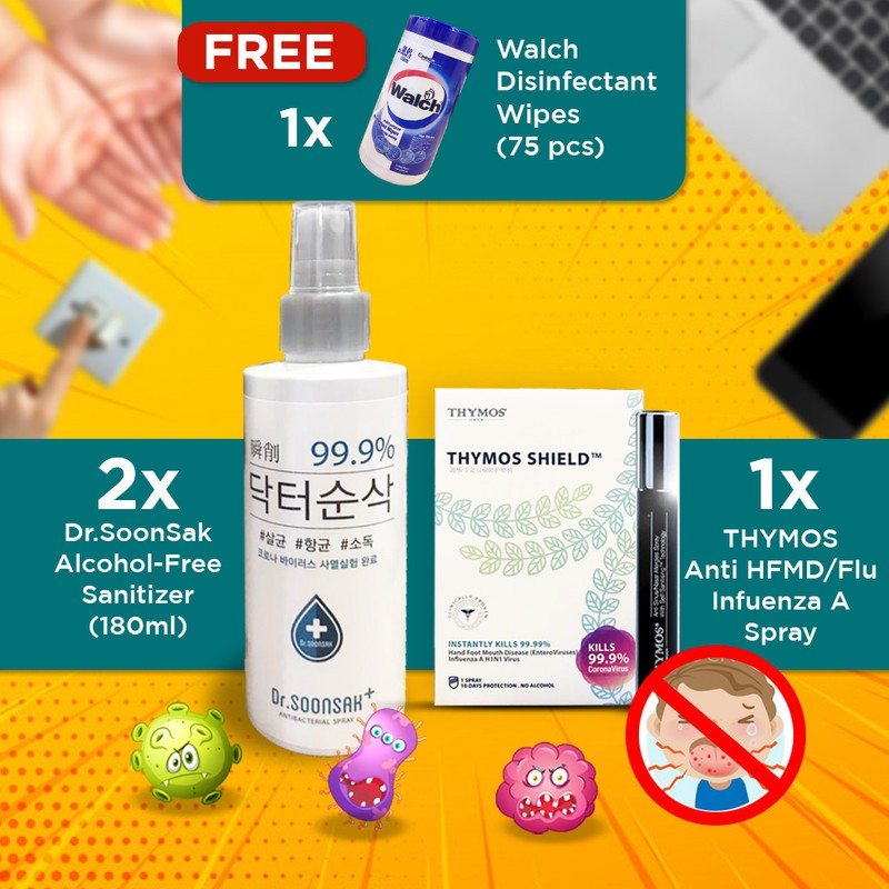 【Risk-Free Surface Spray Children Set】(2)Dr.Soonsak + (1)Thymos + Walch Wet Wipe