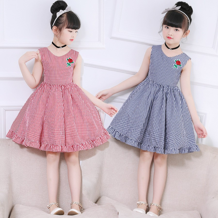 Baby Girls Vest Dresses 2020 New Summer Casual Kids Sleeveless Plaid Print Design For Girls Sweet Clothe 2 10years Shopee Malaysia