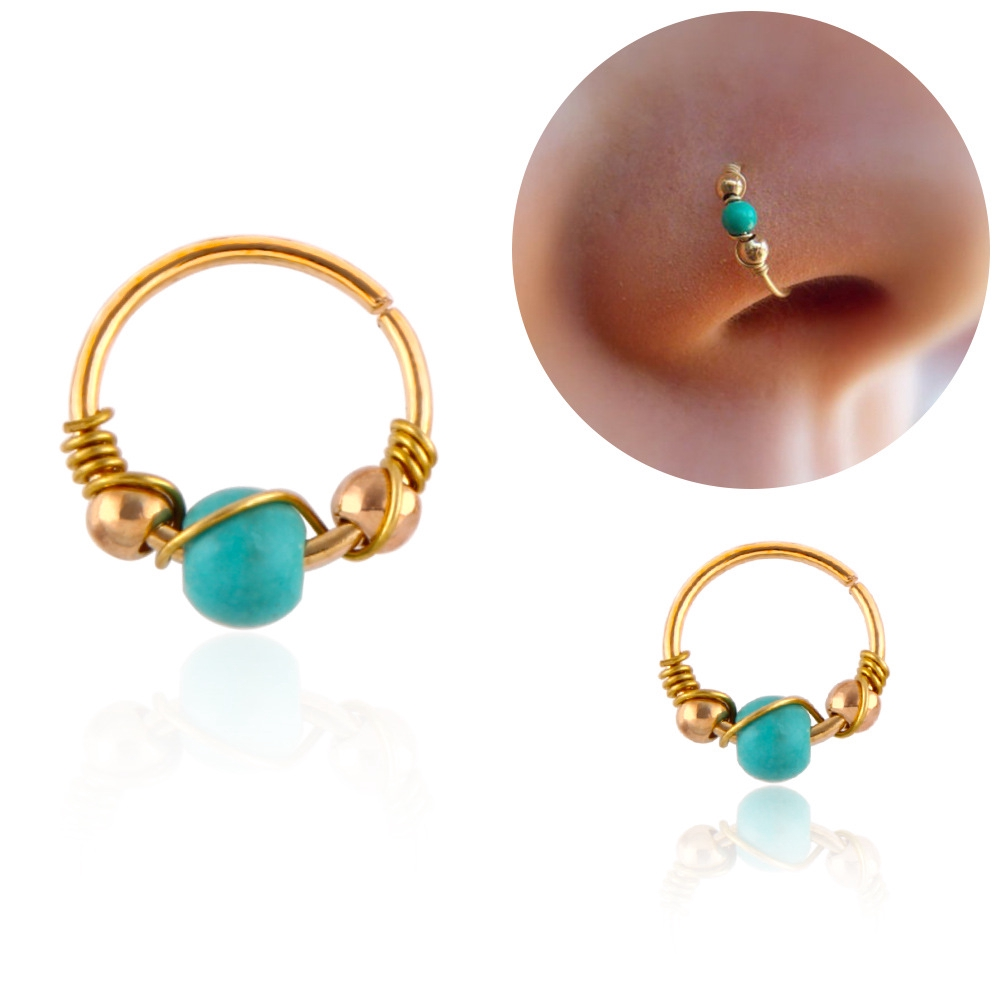 2 Pcs Fashion Women Beads Earring Lip Nose Ring Turquoise Winding