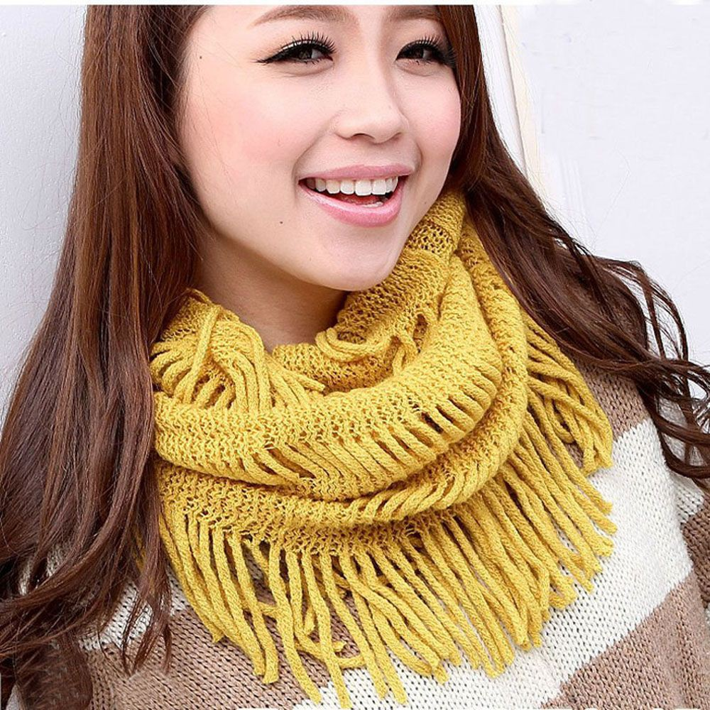 LK/_ Women Winter Warm Infinity Circle Cable Knit Cowl Neck Faux Fur Scarf Shaw