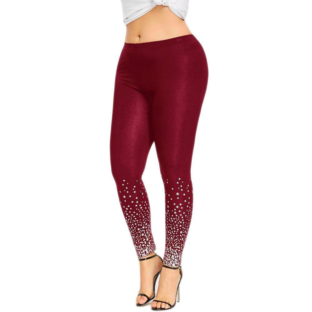 6f0e7190ec5187 💕Sunshine💕Fashion Women High Waist Yoga Sport Casual Pants Plus Size  Stars Print Leggings