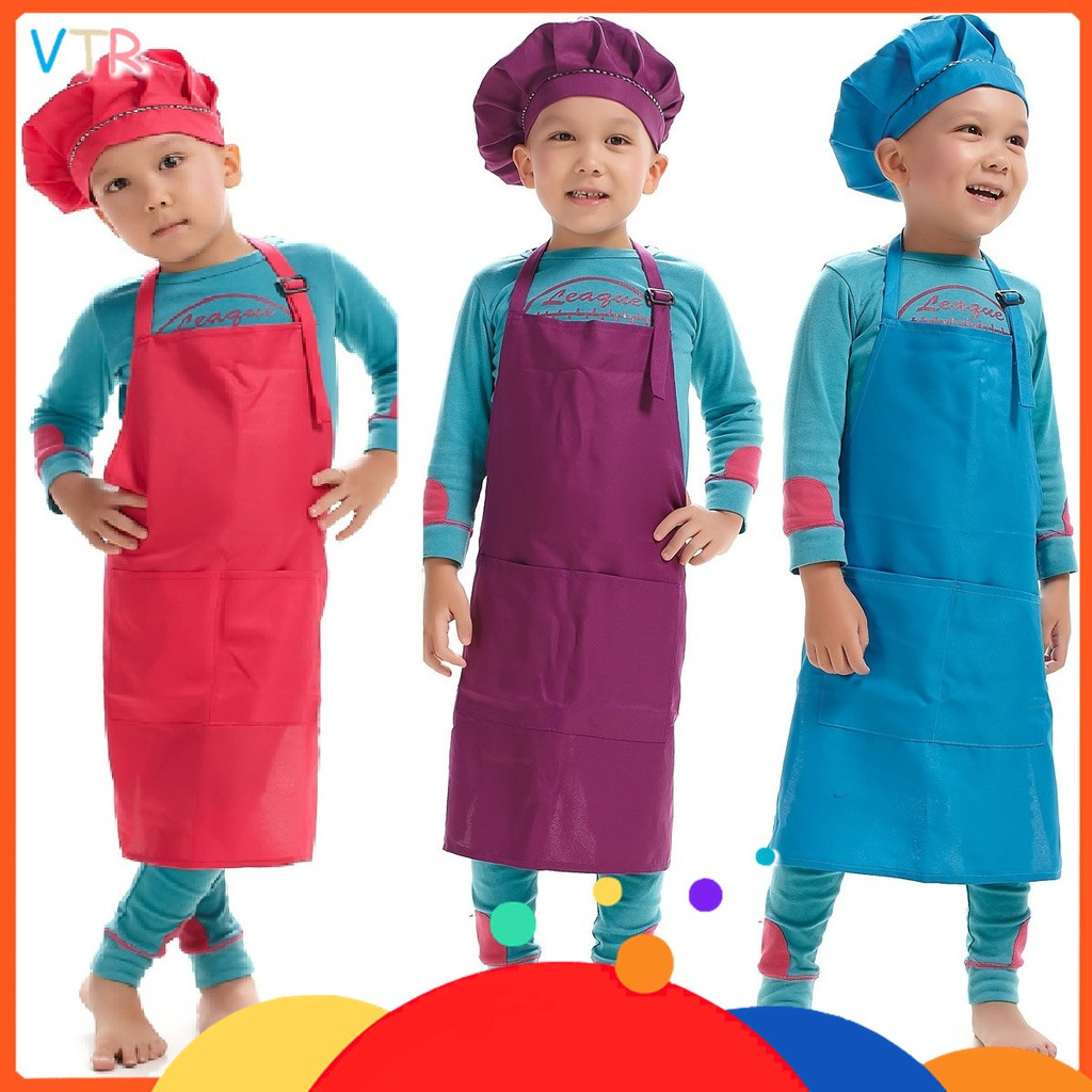 Household Cleaning Protections 3pcs Chef Set Lightweight Durable Cute Protective Apron Suit For Kids Playing Cooking Kitchen Learning Household Cleaning