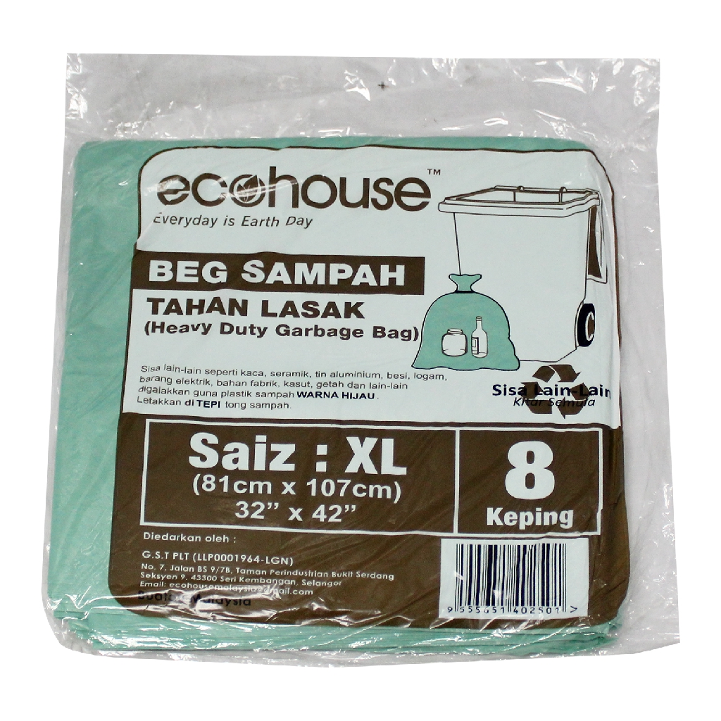 Ecohouse Heavy Duty Garbage Bags - XL (8 Pcs)