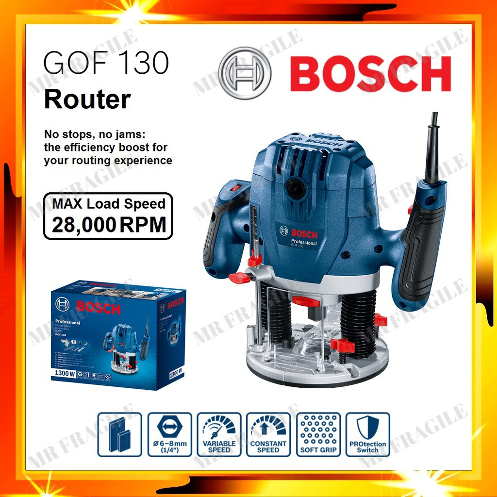 BOSCH GOF130 Plunge Router 1300w No stops, no jams Professional Router