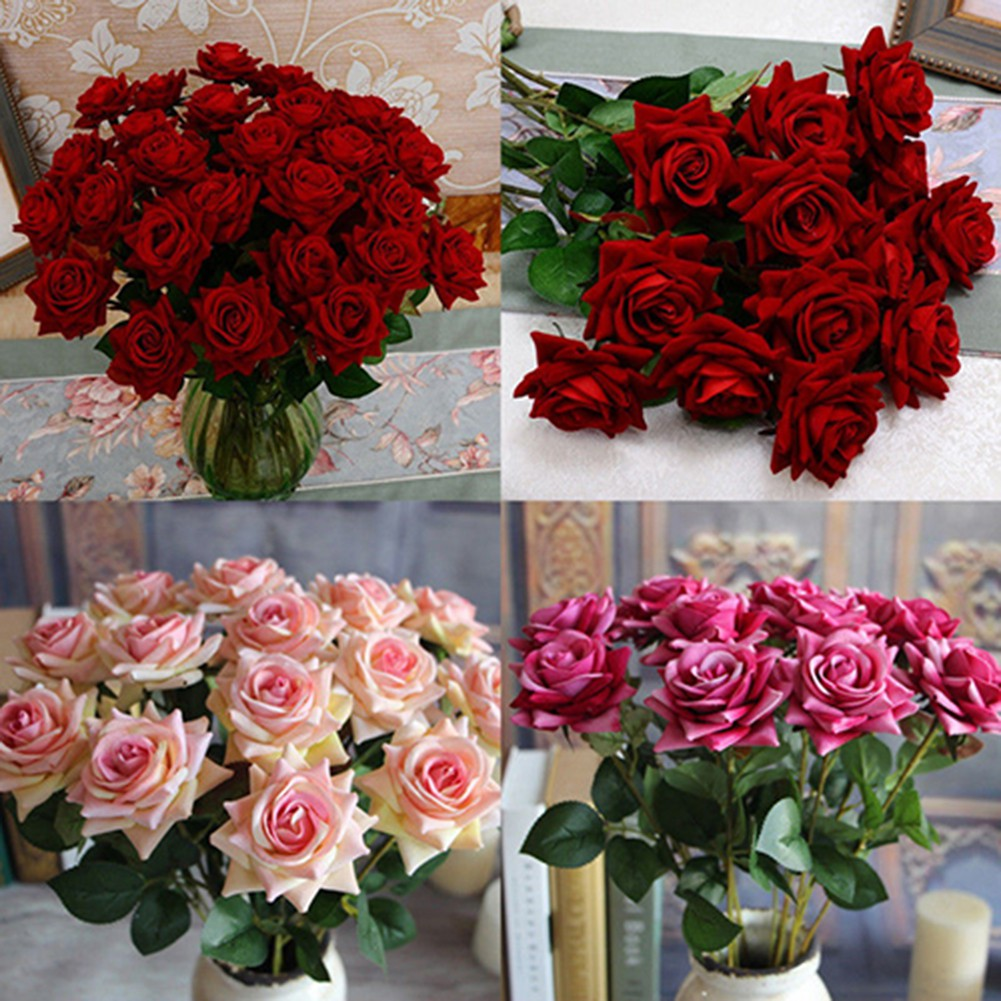 1 Pc Beautiful Artificial Fake Rose Flower with Leaf ...