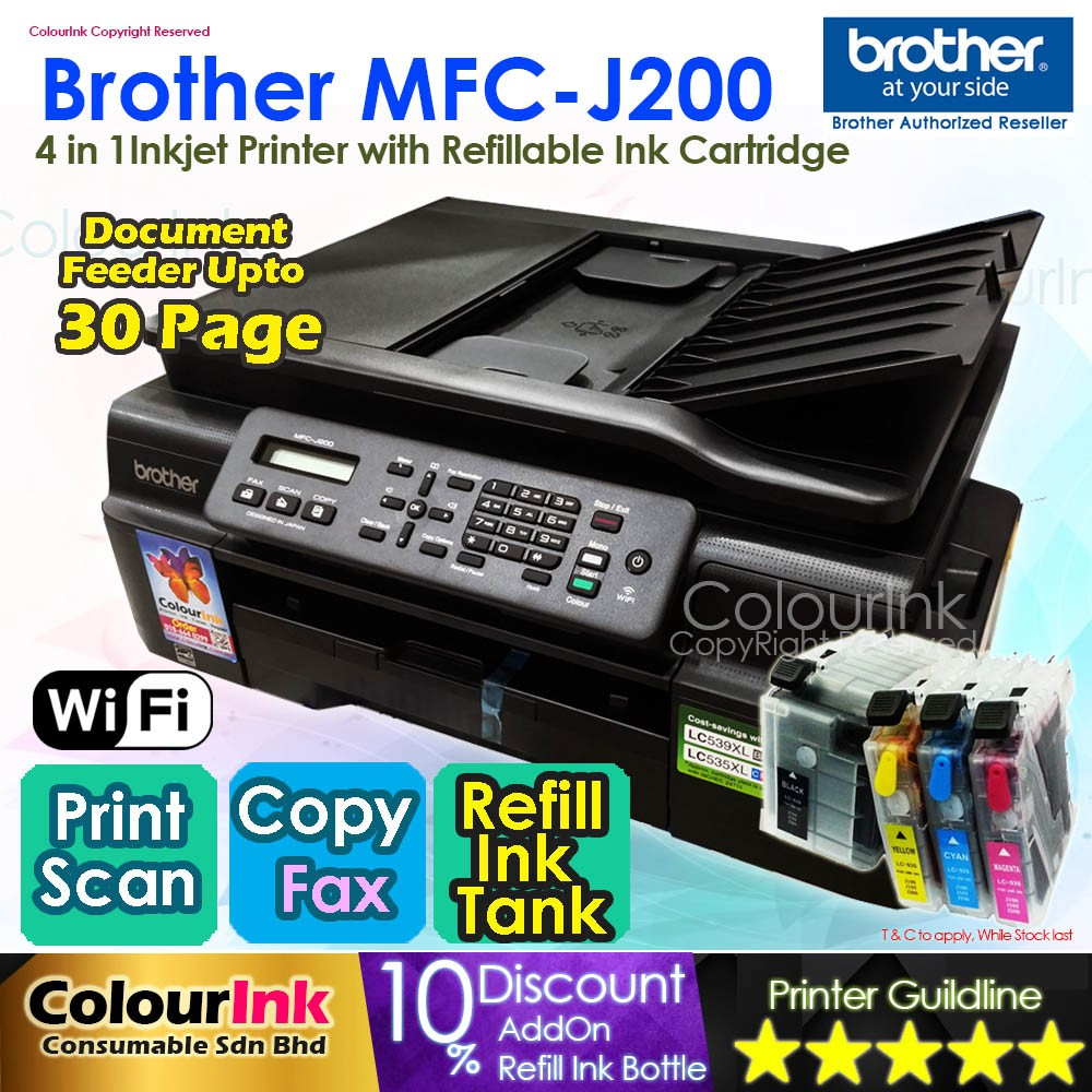 Brother MFC-J200 Inkjet Printer with Refillable Cartridge Print Scan Fax  Wifi
