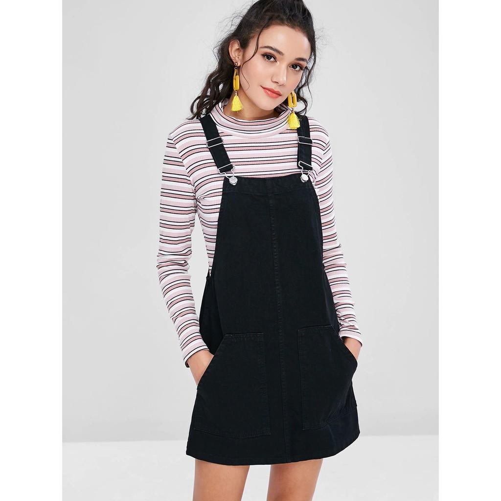 2019 authentic 60% cheap new release Wholesale Denim Pockets Pinafore Dungaree Dress Women Denim Dresses Female  Autumn